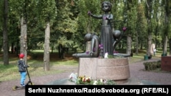 A monument to the children killed in Babyn Yar at the Holocaust memorial complex