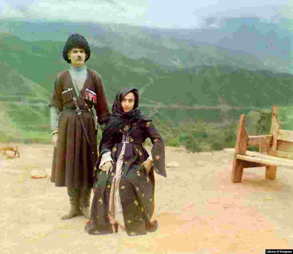 "A couple in traditional dress poses for a portrait in what is now the Republic of Daghestan. - Prokudin-Gorsky developed and patented his own color film process, and hoped to use his photographs to help educate Russian schoolchildren with his ""optical color projections."""