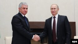Abkhaz leader Raul Khajimba (left) meets with Russia's Vladimir Putin in February, (Russia recognized Abkhazia as an independent sovereign state in August 2008; only a handful of other countries have followed suit.)