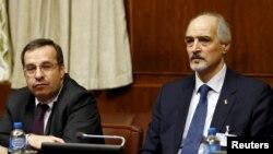 Представитель Сирии при ООН Башар Джаафари (справа) и посол Сирии Хусам-ад-Дин Аала на открытии мирных переговоров по Сирии в Женеве. Швейцария, 29 января 2016 года.