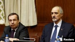 Представитель Сирии при ООН Башар Джаафари и спецпосланник ООН по Сирии Стафан де Мистура (Женева, 29 января 2016 года)