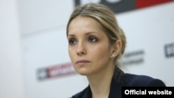 Yevhenia Tymoshenko at a press conference in Kyiv in April
