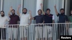 Семь освобожденных на востоке Ливана из плена эстонских туристов (Бейрут, 2011 год)