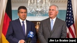 U.S. Secretary of State Rex Tillerson (right) meets with German Foreign Minister Sigmar Gabriel at the State Department in Washington on August 29.
