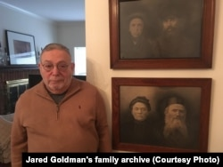 Jared's father by the photos of his ancestors from Belarus