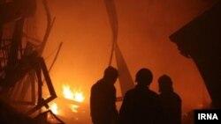 مرکز تجارت و پوشاک بازار تبريز چهارشنبه دچار حريق شد