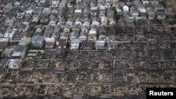 Дауыл мен тасқыннан қираған үйлердің орыны. Нью-Йорк маңы, 31 қазан 2012 жыл.