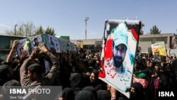 Iran, Kerman: funeral of 3 Afghan militiamen killed in the Syrian conflicts.