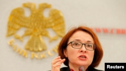 Russian Central Bank Governor Elvira Nabiullina speaks during a news conference in Moscow, September 16, 2016