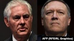 Secretarul de stat Rex Tillerson (stg.) și Mike Pompeo, directorul CIA