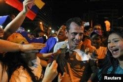 Энрике Каприлес в Каракасе на марше 1 апреля