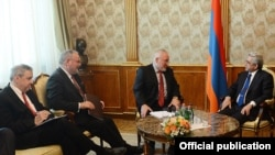 Armenia - President Serzh Sarkisian (R) meets with the OSCE Minsk Group co-chairs in Yerevan, 24May2013.