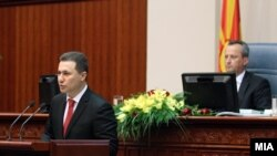 Седница на Собранието на Македонија за избор на нова Влада. Експозе на премиерот Никола Груевски.