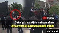 Atatürk-ün heykəlinə baltayla hücum.