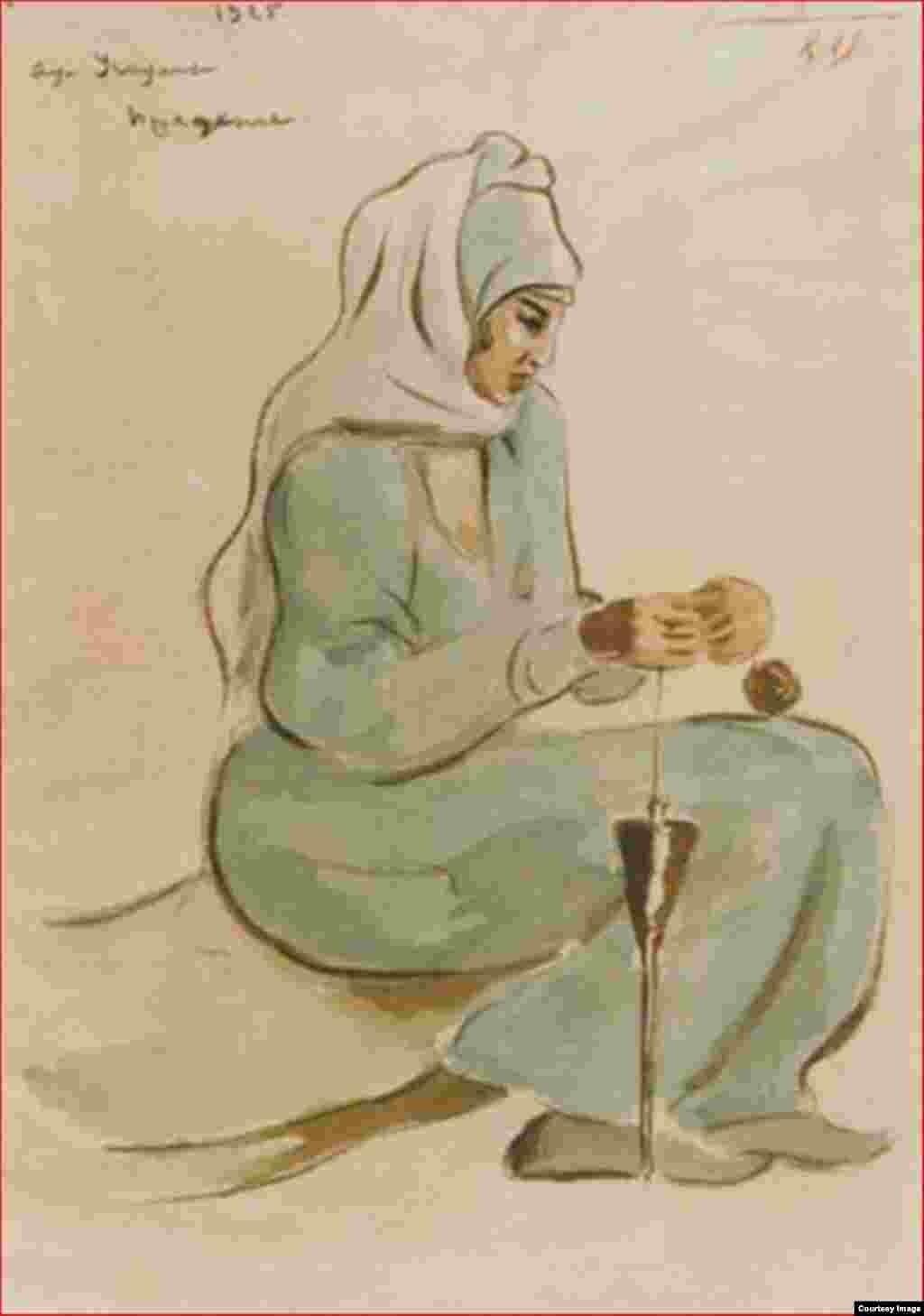 Федоров Д.С. Прядение. Аул Учкулан. Карачай. 1925 г.
