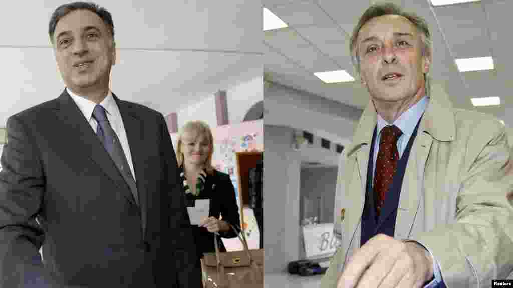A combo photo shows President Filip Vujanovic (left) and opposition candidate Miodrag Lekic as they cast their votes in the capital, Podgorica.