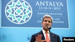 U.S. Secretary of State John Kerry speaks at the NATO foreign minister's meeting in Antalya, Turkey, on May 13.