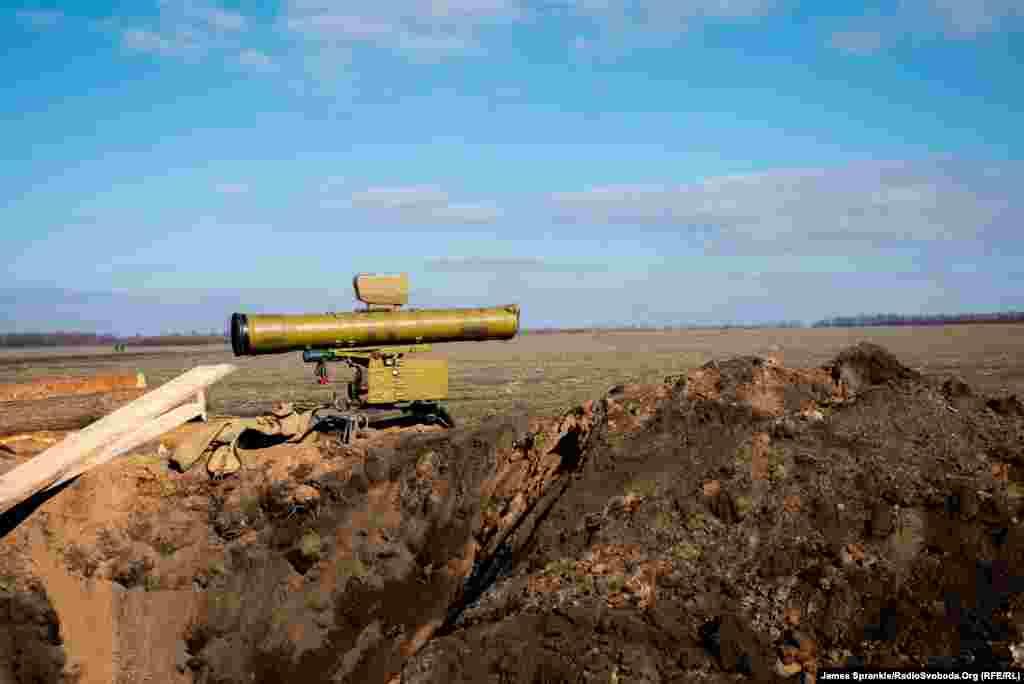 Протитанкова ракетна установка направлена в сторону Дебальцева