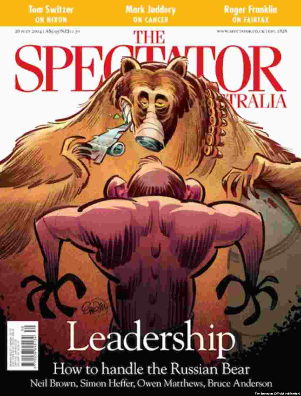 "Australia's ""The Spectator,"" dated July 26, pictures Russia as an armed bear gobbling up an airplane."