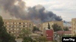 Şirvan şəhərində, hərbi zavodda yanğıdan görüntülər, 26 iyul, 2016
