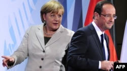 Newly elected French President Francois Hollande (right) is expected to push German Chancellor Angela Merkel (left) to focus on growth as much as austerity.