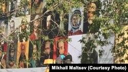 Баннер на гимназии имени Дягилева в Перми.