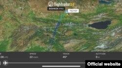 Бишкек-Баткен каттамындагы учактын абадагы жолу. Сүрөт www.flightradar24.com сайтынан алынды.