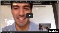 Azerbaijan. Baku. Luis Suarez Surprises A Young Uruguayan Cancer Patient With Video Call