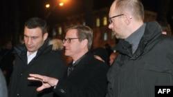 Gvido Vestervele, Vitalij Kličko i Arsenij Jatsenuk u Kijevu 4. decembra