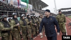"Recently, Boris Nemtsov questioned the rationale for the grandiose rally of security personnel Ramzan Kadyrov held in Grozny in late December, at which Kadyrov affirmed that he had at his disposal 10,000 volunteers loyal to Vladimir Putin who are ready ""to carry out any command"" in order to defend stability in Russia."
