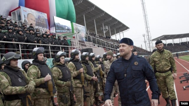 Ramzan Kadyrov, head of the Chechen Republic, appears for a speech at Sultan Bilimkhanov Stadium in Grozny in late December.
