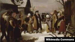 """""""Людовик XVI, раздающий милостыню крестьянам Версаля зимой 1788 года"""". Художник Луи Эрсан. 1817"""