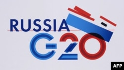 Russia -- The logo of G20 Summit in St. Petersburg, September 4, 2013.