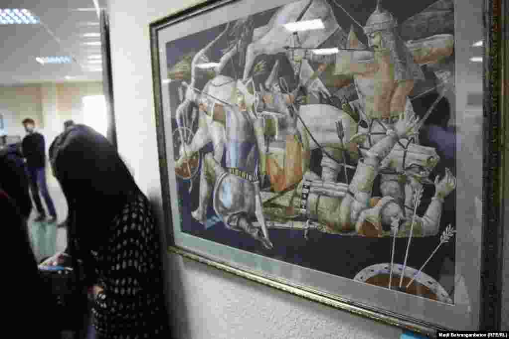 """Суретші С.Таиновтың """"Дала мергендері"""" картинасы.Астана, 17 қыркүйек 2015 жыл."""