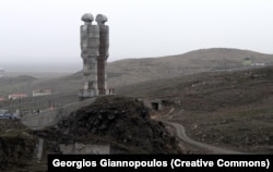 A photo from 2011 shows the doomed statue on a hill above Kars.