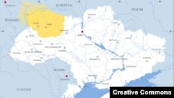 Жовтим виділена територія Волині