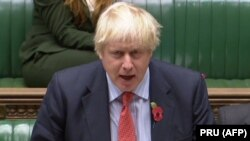U.K. -- British Foreign Secretary Boris Johnson speaks in the House of Commons, in London, November 7, 2017