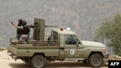 Saudi forces guard border with Yemen.