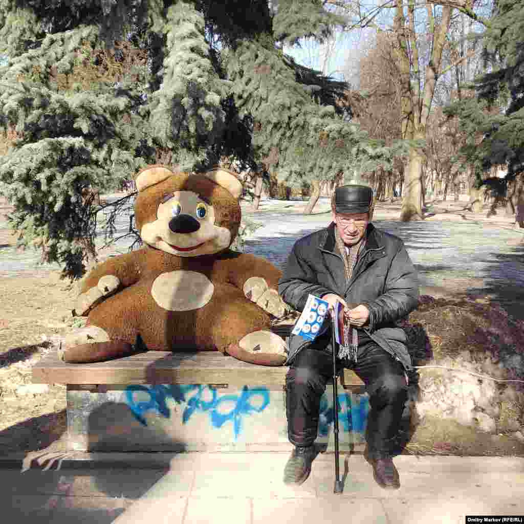 A soft toy with a serious case of bear-spreading, and an early visitor to the Crimea festivities