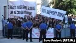 Protest protiv inauguracije Filipa Vujanovića na Cetinju, maj 2013.