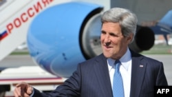 U.S. Secretary of State John Kerry upon his arrival at Moscow's Vnukovo Airport on May 7.