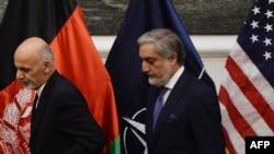 محمد اشرف غنی و عبدالله عبدالله رهبران حکومت وحدت ملی افغانستان
