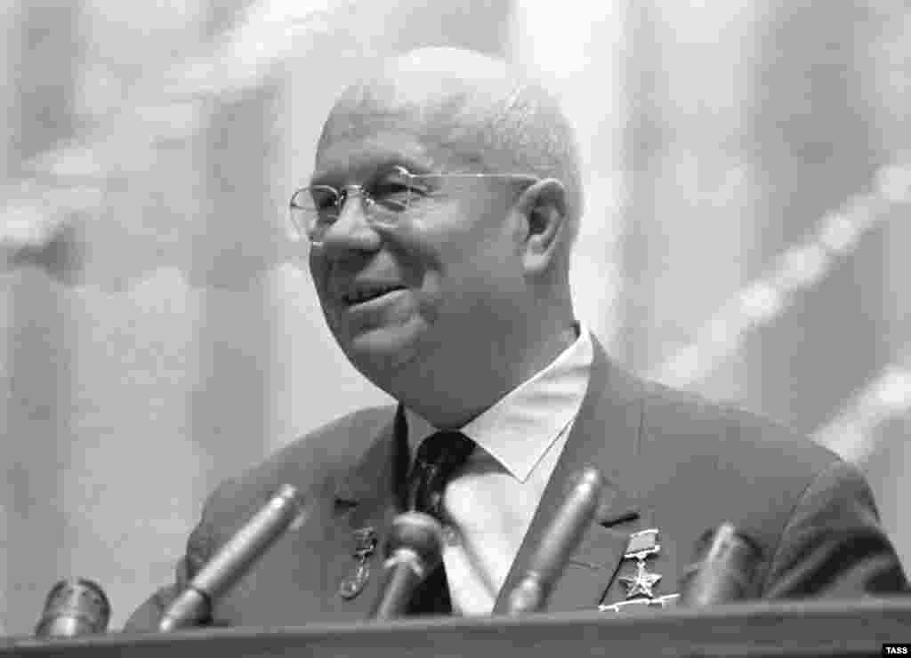 "Following the thaw and denunciation of Stalin in the late 1950s under Nikita Khrushchev (pictured here in 1964), Solzhenitsyn was permitted to publish his largely autobiographical ""One Day In The Life Of Ivan Denisovich."""