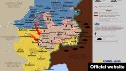 """Карта регионов Украины, где проходит """"антитеррористическая ситуация""""."""