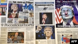 Front pages of Russian newspapers report on the victory of Donald Trump in the U.S. presidential election.
