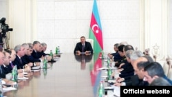 Azerbaijan - President Ilham Aliyev chairs a cabinet meeting in Baku, 16Apr2012.