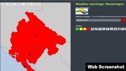 HMZCG izdao je upozorenje, tzv. Crveni meteo alarm, za teritoriju cijele Crne Gore