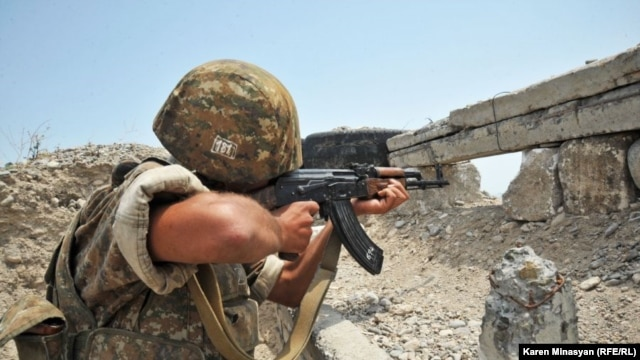 An Armenian soldier on the Nagorno-Karabakh front line