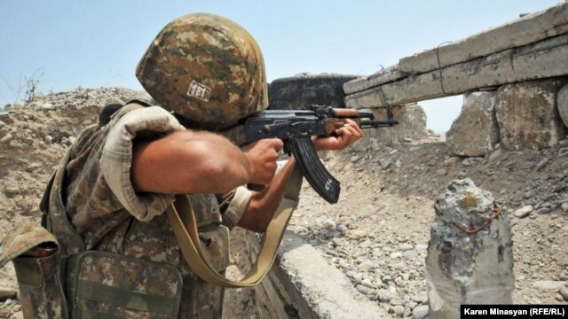 Nagorno-Karabakh -- An Armenian soldier on frontline duty in the Martakert district, 20Jul2012.