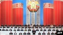 Аляксандар Лукашэнка на Ўсебеларускім народным сходзе ў 2010 годзе